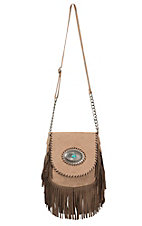 Blazin Roxx Women's Tan with Western Concho & Brown Fringe Messenger Bag