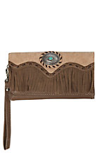 Blazin Roxx Women's Brown with Turquoise Concho & Fringe Wallet