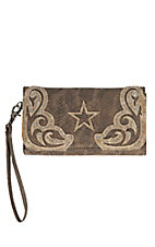 Blazin Roxx Women's Metallic Taupe Snake Print with Star Overlay Snap Flap Wallet