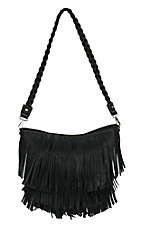 Blazin Roxx Ladies Black with Fringe Hobo Bag