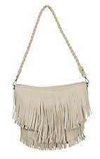 Blazin Roxx Ladies White with Fringe Hobo Bag