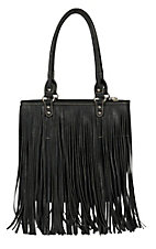 Blazin Roxx Black Faux Leather with Fringe Shoulder Bag N7566401