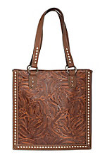 Blazin Roxx Tan Floral Embossed Tote Bag N7570008