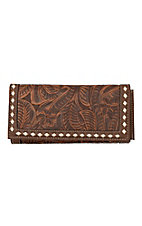 Blazin Roxx Tan Floral Embossed Snap Flap Wallet