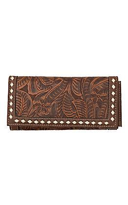 Blazin Roxx Tan Floral Embossed Snap Flap Wallet