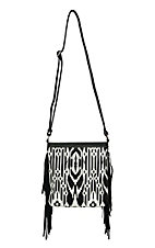 Blazin Roxx Ladies Black & White Aztec with Fringe Messenger Bag