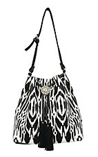 Blazin Roxx Ladies Black & White Aztec with Fringe Drawstring Bucket Bag