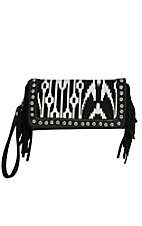 Blazin Roxx Ladies Black & White Aztec with Fringe & Crystal Accents Wallet