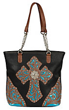 Blazin Roxx Ladies Black with Tan & Turquoise Lazer Cross & Trim Tote