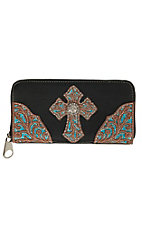 Blazin Roxx Women's Black with Tan Lazer & Turquoise Underlay Cross with Rhinestones Wallet