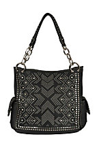 Blazin Roxx Black Faux Leather Studded Rhinestone Shoulder Bag N7582401