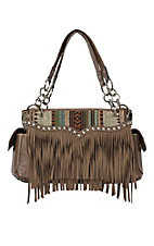 Blazin Roxx Ladies Brown with Fabric & Fringe Satchel