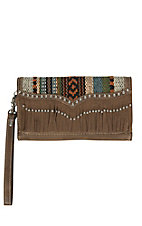 Blazin Roxx Ladies Brown with Fabric & Fringe Flap Wallet