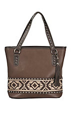 Blazin Roxx Brown with Aztec Embroidery & Studs Tote
