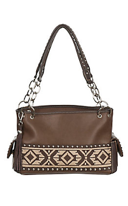 Blazin Roxx Ladies Brown with Aztec Ribbon Satchel Purse