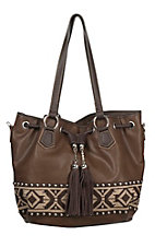 Blazin Roxx Ladies Brown with Aztec Ribbon Bucket Purse