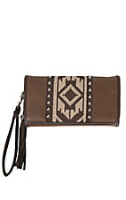 Blazin Roxx Brown with Aztec Embroidery & Studs Wallet