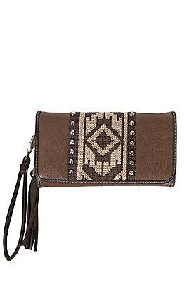 Blazin Roxx Brown with Aztec Embroidery & Studs Wallet