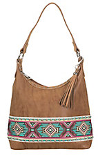 Blazin Roxx Tan with Colorful Aztec Embroidery & Studs Hobo Bag