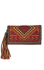 Blazin Roxx Women's Tan with Multicolor Indian Blanket Snap Flap Wallet