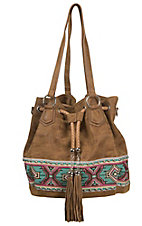 Blazin Roxx Tan with Colorful Aztec Embroidery & Studs Fringe Drawstring Bucket Bag