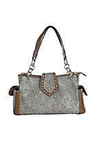 Blazin Roxx Women's Brown Floral Embossed with Turquiose Wash Western Purse