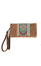 Blazin Roxx Tan with Colorful Aztec Embroidery & Studs Wallet
