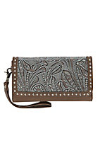 Blazin Roxx Women's Brown Floral Embossed with Turquiose Wash Wallet/ Checkbook Cover