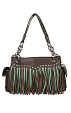Blazin Roxx Chocolate with Turquoise & Brown Fringe Satchel