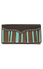 Blazin Roxx Chocolate with Turquoise & Brown Fringe Snap Flap Wallet