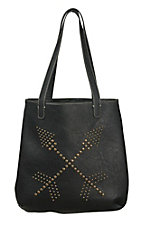 Blazin Roxx Black with Brass Studded Arrows Tote