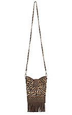 Blazin Roxx Leopard Print Hide with Fringe & Studs Cross Body Purse N7589902