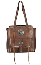 Blazin Roxx Brown Croc Print with Turquoise Concho & Studs Tote