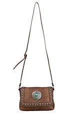 Blazin Roxx Brown Croc Print with Turquoise Concho & Studs Cross Body Bag