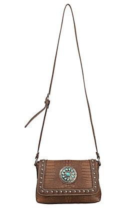 Blazin Roxx Brown Croc Print with Turquoise Concho & Studs Cross Body Bag
