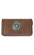 Blazin Roxx Brown Croc Print with Turquoise Concho & Studs Zip Around Wallet
