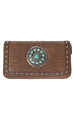 Blazin Roxx Brown Croc Print with Turquoise Concho & Studs Zip Around Wallet