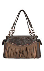 Blazin Roxx Brown with Emboss Cross and Fringe Western Purse