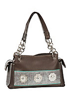 Blazin Roxx Brown with Turquoise Embossed with Silver Studs Western Purse