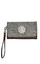 Blazin Roxx Brown with Floral Design and Rhinestone Flower Western Clutch