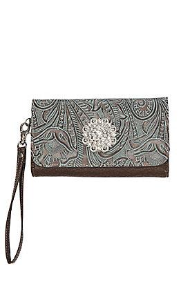 Blazin Roxx Brown with Floral Design and Rhinestone Flower Western Clutch