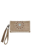 Blazin Roxx Tan with Starburst Rhinestone and Tuqruoise Embellishment Western Clutch