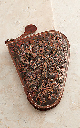 Nocona Tan Floral Embossed Small Pistol Case