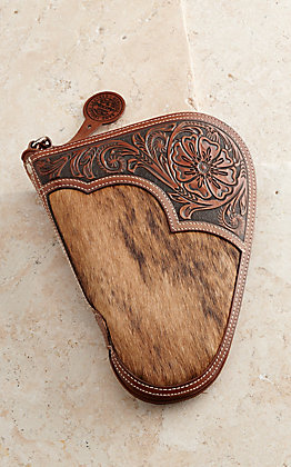 Nocona Tan Embossed Overlay With Calf Hair Small Pistol Case