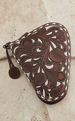 Nocona Brown & Ivory Leather Floral Embossed Small Pistol Case