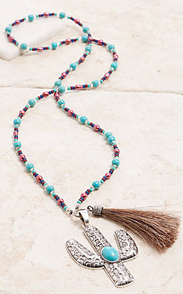 Cowboy Collectibles Pink Pearl & Turquoise Beaded Cactus Tassel Necklace