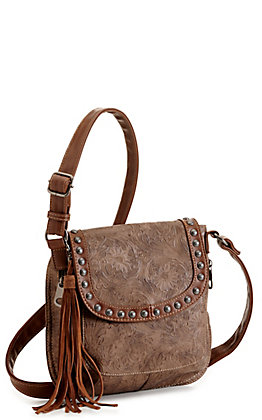 Blazin Roxx Ariana Brown Tooled with Studs Concealed Carry Crossbody Bag