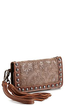 Blazin Roxx Ariana Brown Tooled with Tassel Studded Clutch Wallet