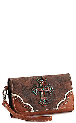 Blazin Roxx Brown and Tan Faux Leather with Tooling and Cross Clutch Wallet