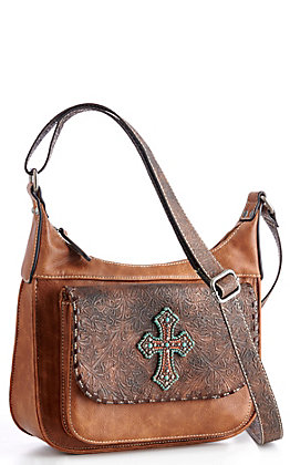 Blazin Roxx Women's Brown Tooled With Cross Concealed Weapon Shoulder Bag